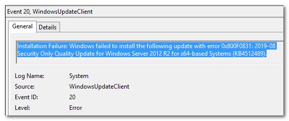 Ошибка 0x800f0831 в Windows