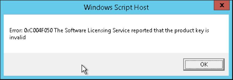 Сообщение об ошибке с кодом 0xC004F050 в Windows10