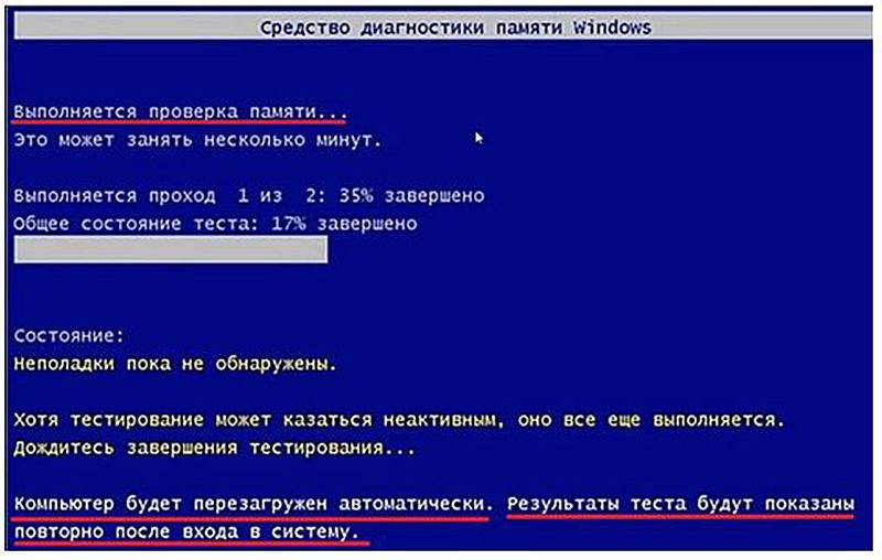Процесс проверки памяти на экране