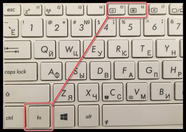 Fn+F5 для изменения яркости ноутбука