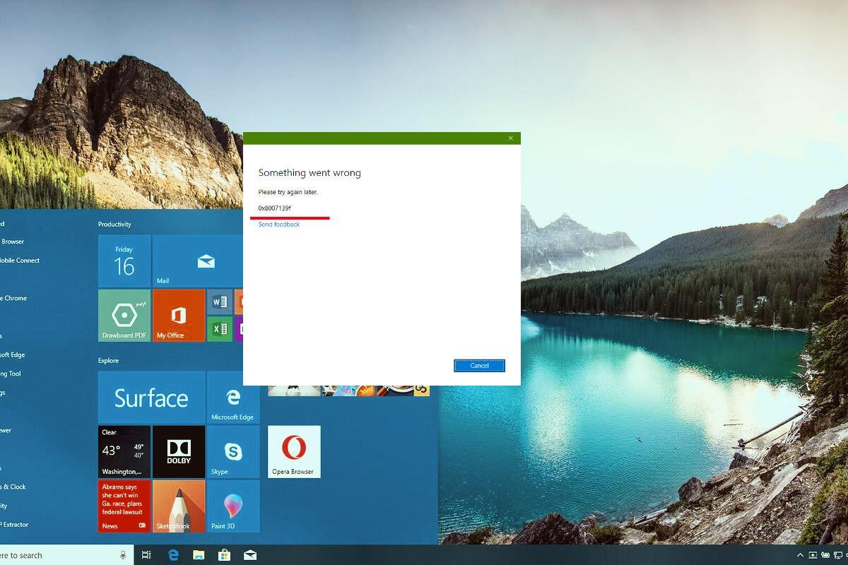 Убираем ошибку 0x8007139f в Windows 10