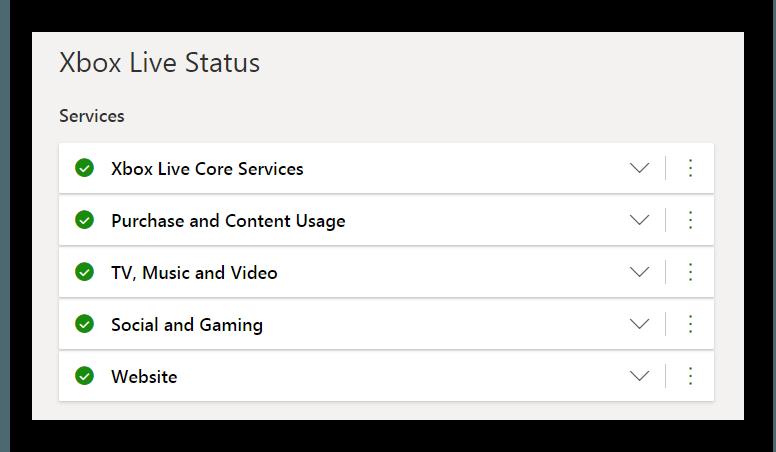 Статус серверов XBOX ONE