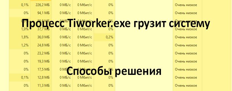 Процессор Tiworker.exe грузит систему: причины и решения