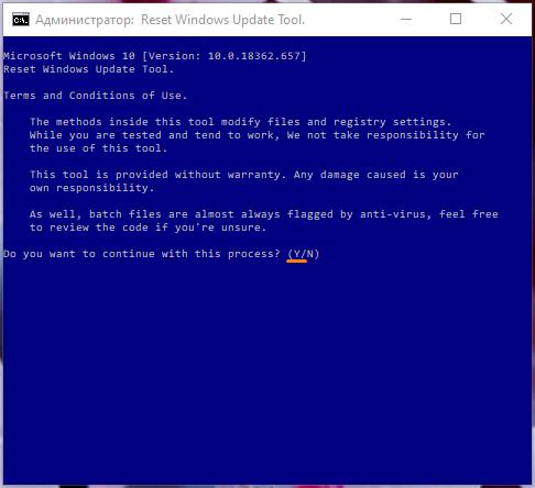 Окно «Администратор: Reset Windows Update Tool» в Windows 10