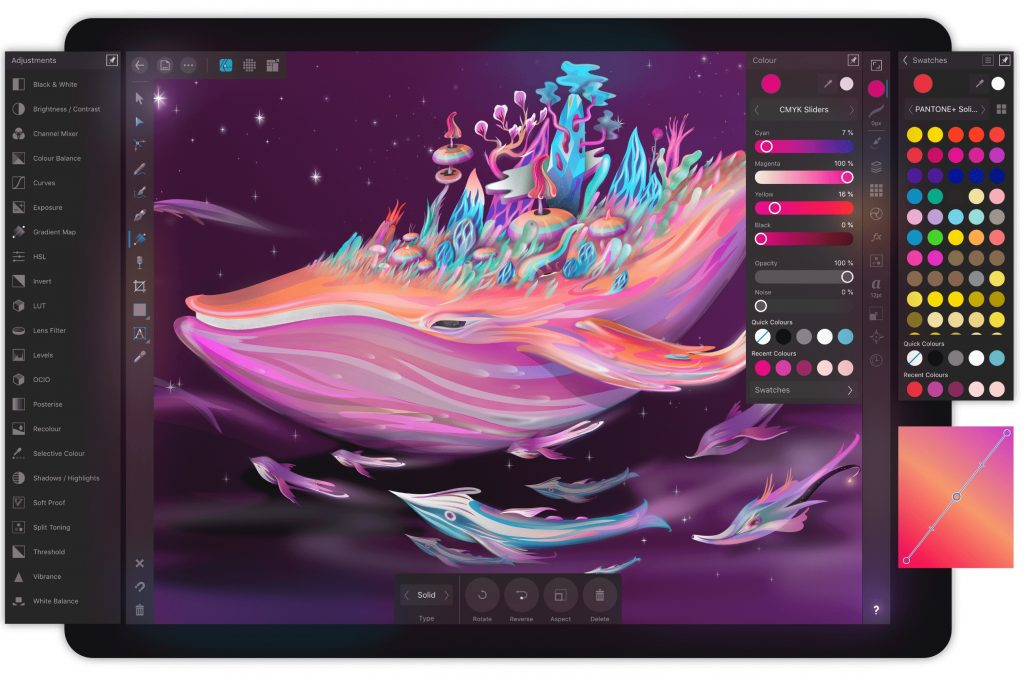 Профессиональная программа для рисования на планшете Affinity Designer