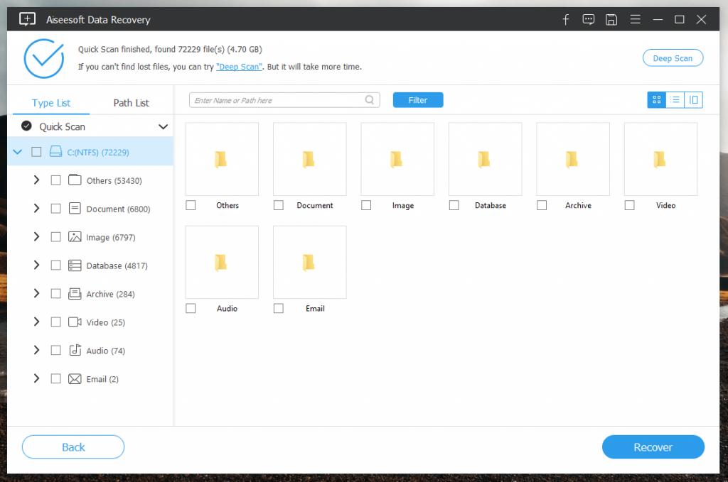 платная программа для восстановления файлов Aiseesoft Data Recovery