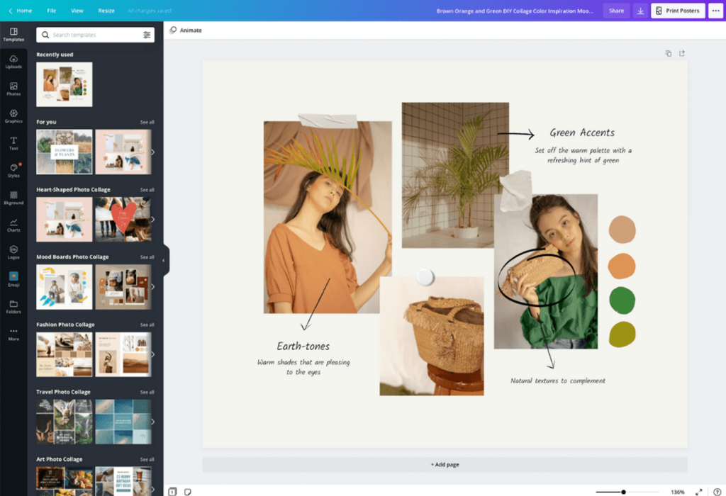 фото-коллаж на компьютере через программу Canva Collage Templates