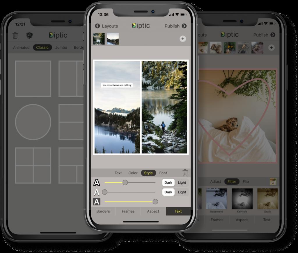 создать фотоколлаж на смартфоне через приложение Diptic
