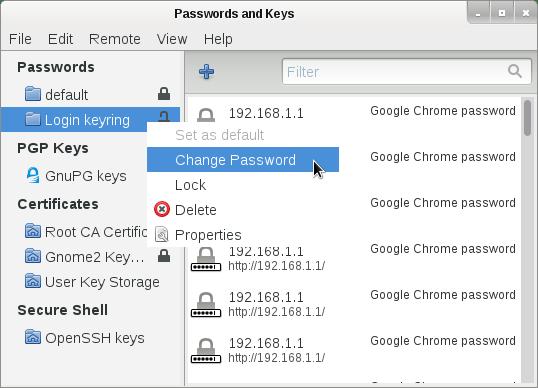 менеджер паролей для Linux Gnome Keyring
