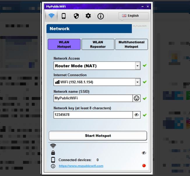 удобная программа для раздачи вайфай с ноутбука MyPublicWiFi