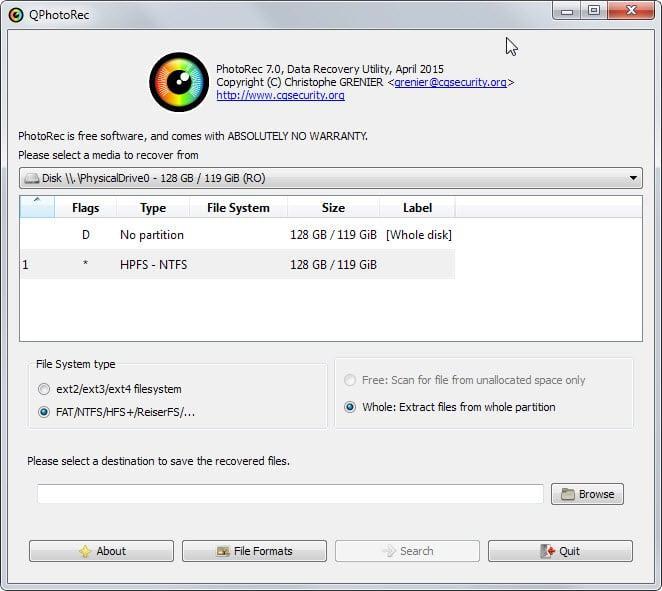 восстановления удаленных файлов на windows, linux, freedos PhotoRec