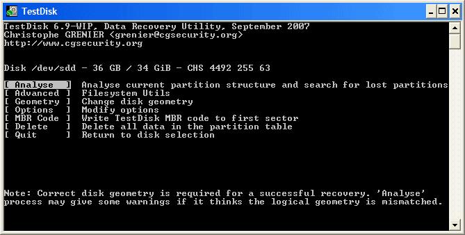 утилита для восстановления любых типов файлов TestDisk