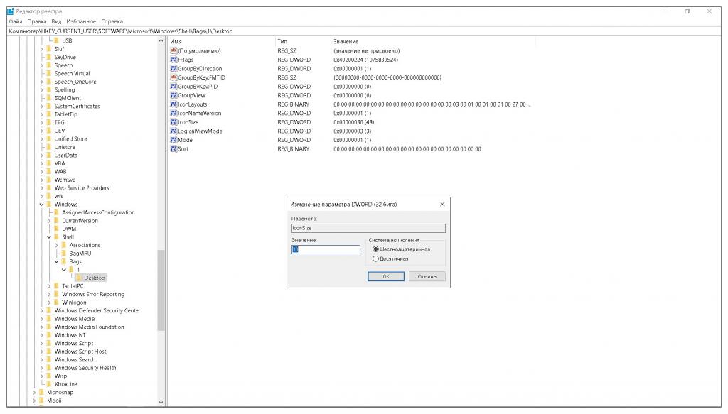 Откройте параметр IconSize и установите необходимое значение