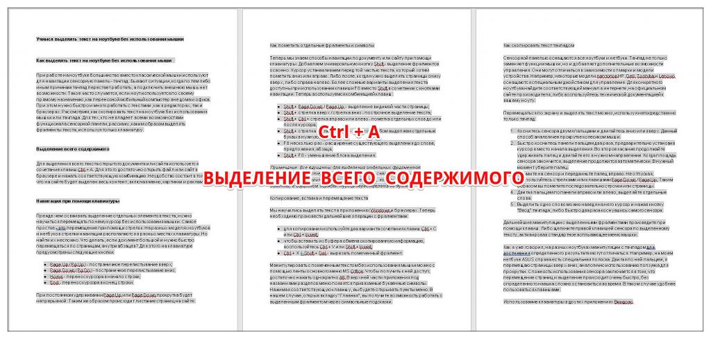 как выделить все содержимое документа или страницы