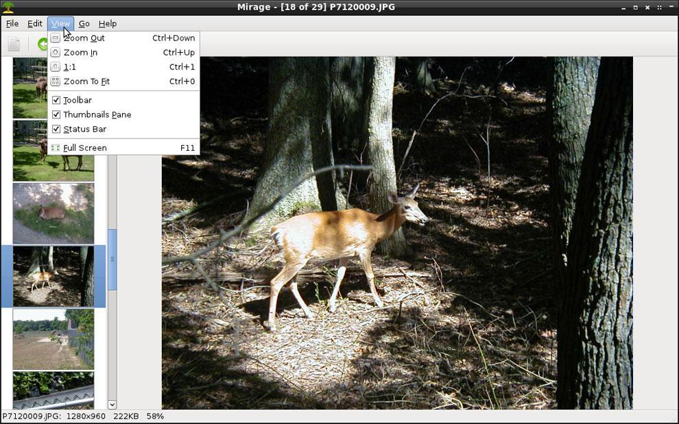 удобная утилита для фотографий на ОС Линукс Mirage