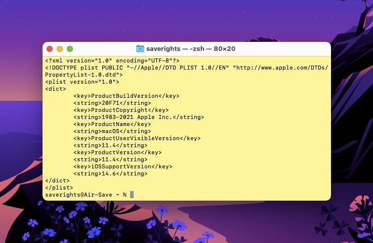 узнаем версию системы macOS с помощью команды Терминала