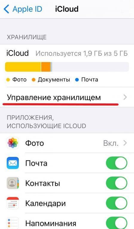 управление хранилищем айфона